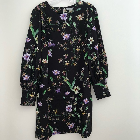 d61b2bbb2b34 H&M Dresses & Skirts - NWOT H&M Floral Black Shift Dress Long Sleeves 14